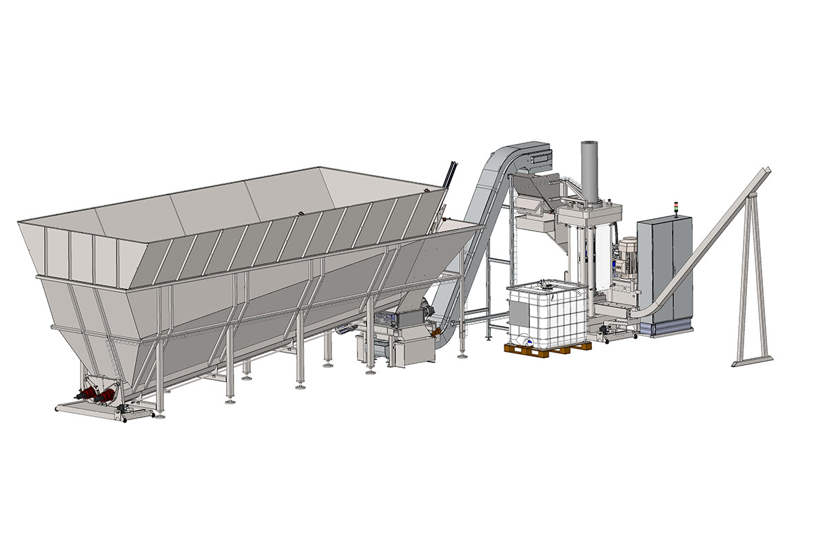 Aluminium chip compactor with 20 M3 hopper for storage.